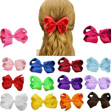 "1pcs Big 4.5"" Hair Bows Grosgrain Ribbon Clips Boutique Girls Hair Accessories"