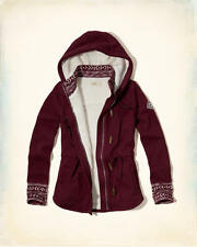 NWT Hollister - Abercrombie Patterned Sherpa Lined Hoodie Fleece Jacket Burgundy