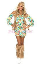 OP Ladies Costume Fancy Dress (172) 60s 70s Retro Groovy Costume Hippie sz 6-16
