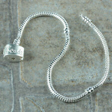 Wholesale 7.75''L Silver Plated Snake Chain Bracelet Fit European Big Hole Beads