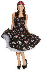 NEW HELL BUNNY BLACK ALICE WONDERLAND 50s ROCKABILLY SWING RETRO VINTAGE DRESS