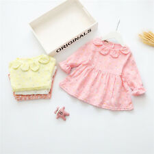 NEW Baby Girls Kids Round Collar Dress Single Skirt Fall Spring Long Shirt Dress