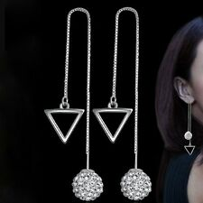 1 Pair  Ear Stud Fashion Rhombus Crystal Ball Silver Plated Long Drop Earrings