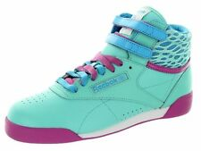 M46758 REEBOK FREESTYLE HI TOP GRE/PK/WHT LEATHER SCHOOL YOUTH SHOES SNEAKERS B