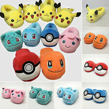 Pocket Monster Pikachu Pokeball Plush Pokemon Slippers Warm Indoor Cosplay Shoes