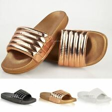 Womens/Ladies Comfy Shiny Quilted Rubber Sliders Flats Shoes Slides Slipper