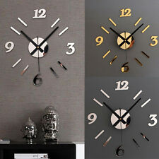 DIY Numbers Wall Clock Acrylic Mirror Wall Stickers Watches Home Decor Clock