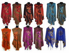 Hot Fashion Chinese Lady Double-Side Butterfly Pashmina Scarf Wrap Shawl Cape