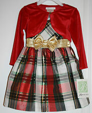 NWT Bonnie Jean Multi-Color Sparkly Dress Gold Bow with Cardigan Jacket - 2T