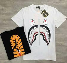 Japan Men's Shark Jaw Fake Zipper Bape A Bathing Ape Cotton Short T-Shirt Summer