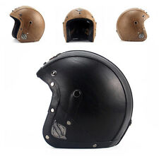 New Unique Motorcycle Rider Harley Helmet PU Leather UC913 Adult Dot Approved