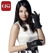 GSG New Ladies Warm Top Grade Soft Real Goat Nappa Leather Gloves with Bow Knot