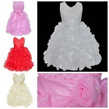 Flower Girl Princess Ruffles Dress Party Pageant Wedding Bridesmaid Formal Gown