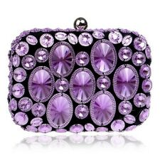 Women Candy Color Beaded Clutch Purse Metal Chain Shoulder Handbag Evening Bag