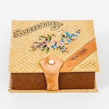 Antique Ladies 'New York' Handkerchief Box Hand Painted Flowers Leather Woven