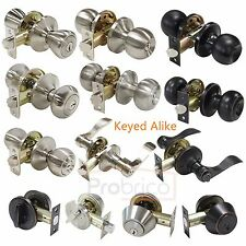 Probrico New Keyed Alike Entry Door Locksets  Round/Lever Knobs Deadbolt Locks