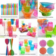 Neon Plastic Glasses Plates Bowls Party Tablewear Perfect for Parties/BBQ