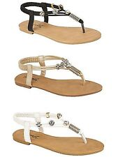 LADIES, WOMEN FLAT DIAMONTE TOE POST SLINGBACK SANDAL FOR ALL OCCASIONS PARADOR