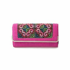 Unique Womens Wallet Fair Trade Hmong Tribe Embroidered Fabric from Thailand