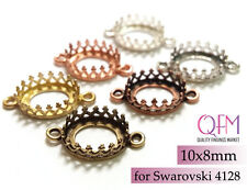 10pcs Oval Crown Bezel Cup 10x8mm Brass with 2 loopsBrass, Copper, Silver plated