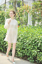 WOMENS PURE SILK PEASANT LONG SLEEVE LOOSE FIT DRESS VINTAGE SIZE: 4 S A588