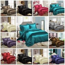 SILK SATIN 6PCS ✔ COMPLETE BEDDING SET ✔ DUVET COVER FITTED SHEET 4 PILLOW CASES