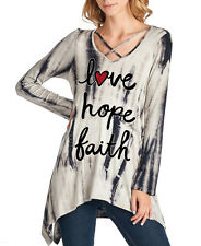 Love Hope Faith Tie Dye Hi Lo Top With Crossover Front V-Neck