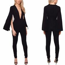 NEW Womens Ladies V Neck Trumpet Sleeves Bodycon Jumpsuit&Romper Clubwear Pants