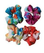 Brightly Coloured Floral Printed Scrunchie Hair Elastic Hairband Ponytail Holder