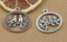 5/20/100pcs Tibetan Silver Beautiful two birds Jewelry Charms Pendant 24x25mm!!!