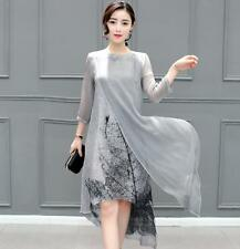 new summer Korean fashion trend temperament elegant printing irregular dress