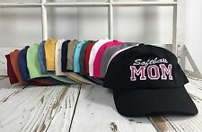 SOFTBALL MOM Dad Hat Embroidered w/ Pink Glitter Many Colors Available