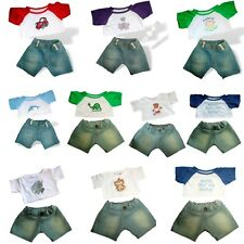 Teddy Bear Clothes fits Build a Bear Denim Jeans and Top with design outfits