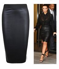 WET LOOK FAUX LEATHER PENCIL WIGGLE BODYCON HIGH WAISTED MIDI SKIRT UK 8-26 SIZE