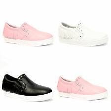 NEW LADIES WOMENS FLAT SLIP ON GIRLS PLIMSOLLS PUMPS CANVAS TRAINERS SHOES SIZE