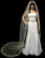 Ivory Cathedral Gold Embroidered Rhinestone Pearl Wedding Bridal Veil