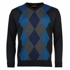 Pierre Cardin Argyle Knit Jumper Mens Navy/Teal Sweater Pullover Top