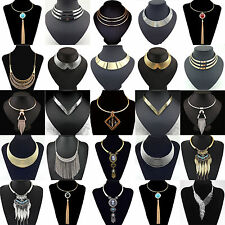 Fashion Charm Metal Chunky Statement Bib Chain Choker Pendant Necklace Jewelry H