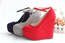 New Hot Womens Platform Wedge Pumps High Heels Ankle Strap buckle Court Shoes