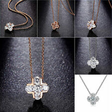 Women Religious Christian Cross CZ Pendant Necklace Chain Gold Plated Jewelry