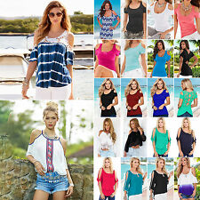 Summer Womens Ladies Cut Out Cold Shoulder Crew Neck Tops Casual T-shirts Blouse