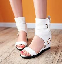 Fashion Womens Open Toe Wedge heel Sandals Boots Roman Buckle Gladiator Shoes
