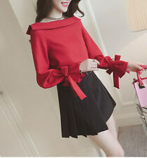 Womens Off Shoulder Top with Bow tie Embellishment Japanese/Korean Fashion Shirt