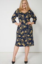 NEW WOMENS GORGEOUS Navy And Yellow Dress With Drawstring Waist SIZES 16-32