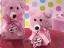 Pink Girl Teddy Bear Cute Fuzzy Hand Towel Baby Shower Birthday Party Favor Gift