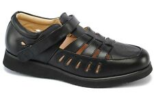 Mt. Emey Therapeutic Comfort Diabetic Extra Wide Womens Black Leather Shoes 8825