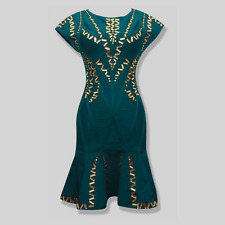 Green Studded Sequined Bandage Dress Women Sleeveless Spring Summer A-Line Gold