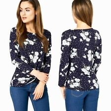New Ladies Navy Daisy Top Smart Polka Dot Twisted Front Plus Size 12- 20