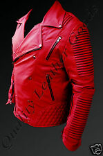MEN SYNTGEIC LEATHER 80'S VINTAGE JACKET BIKER QUILTED PADDED BLUF ROCK PUNK