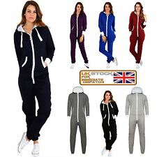 New Ladies Womens All In ONE Onesie Hooded ZIP UP Jumpsuit Playsuit UK Tracksuit